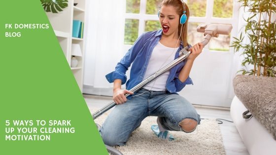 cleaning motivation - woman having fun while cleaning